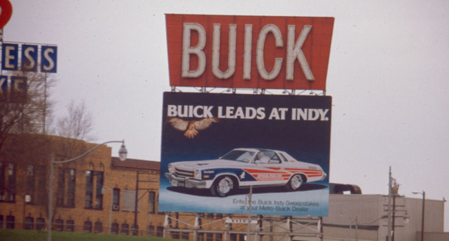 1975 Buick Century Pace Car on a billboard somewhere in Detroit