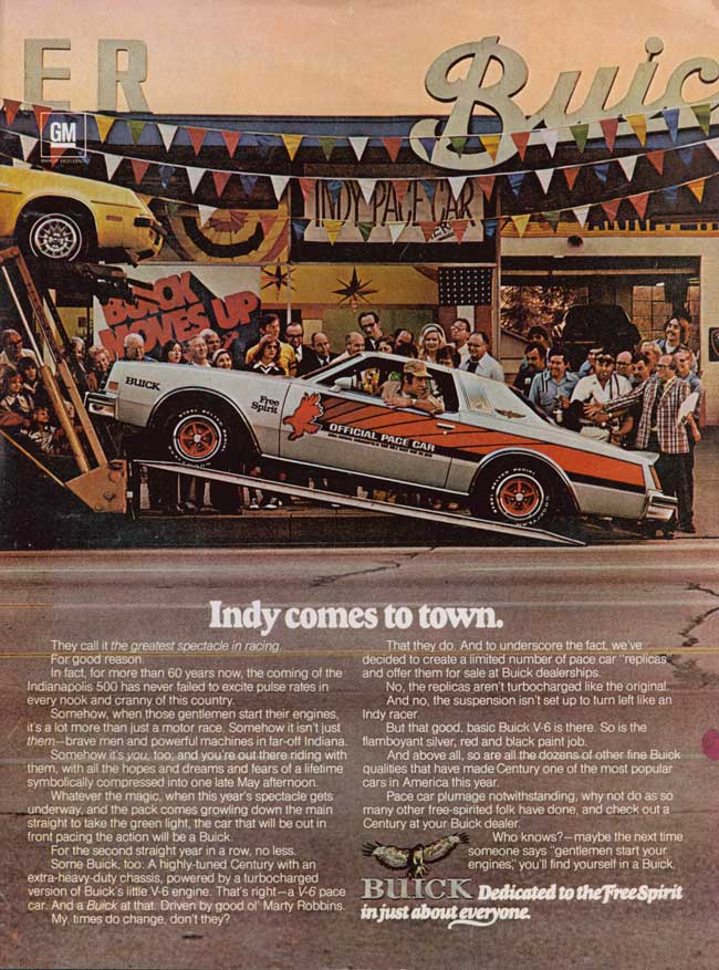 1976 Buick Century Pace Car Replica Ad