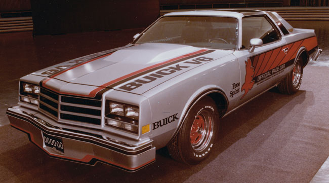 1976 Buick Century Pace Car model photographed in the Design Staff Styling Auditorium