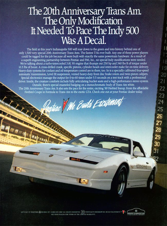 Ad for the 1989 Pontiac Turbo Trans Am