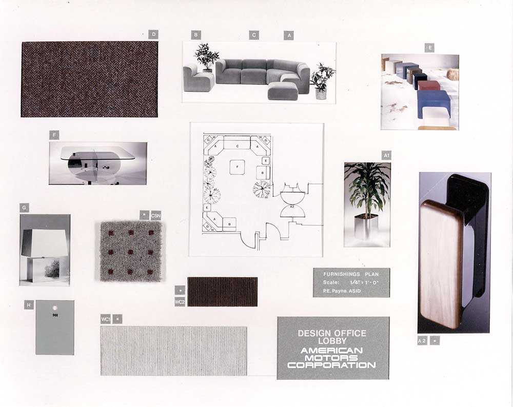 Materials Furnishings Sample Board With Floor Plan