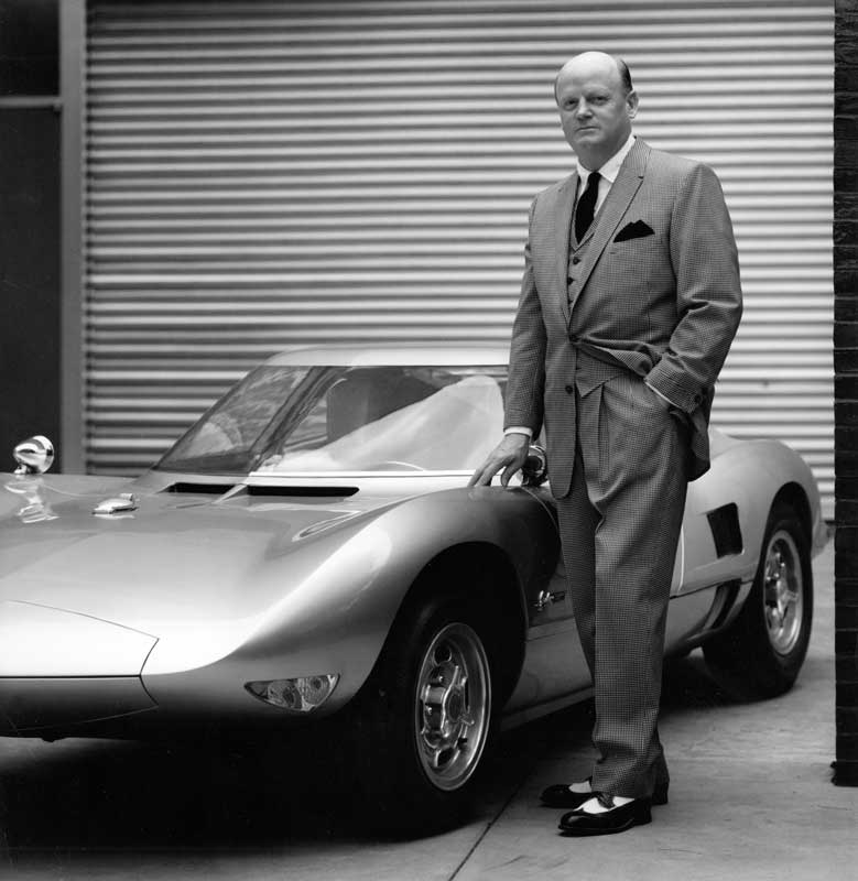 Bill Mitchell with the Monza GT