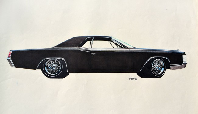 1968-Lincoln-Coupe'-sketch-in-black